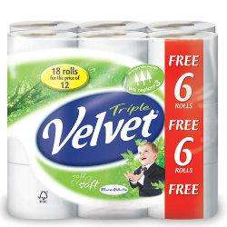 Deal of the Week Triple velvet tiolet rolls pack of 18 buy two for £10 delivery £2.90 @ Viking Direct