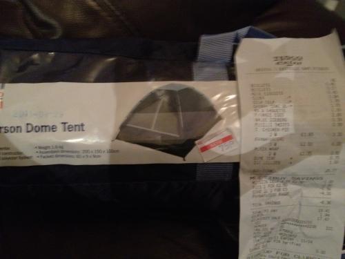 Tesco Value 2 Person Dome Tent  £0.75 instore