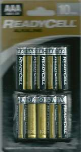 Ten ReadyCell AAA (or AA) Alkaline batteries for 99 pence at Home Bargains