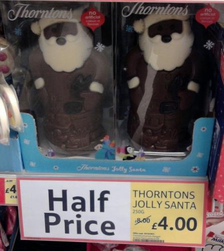 Thornton's Chocolate Jolly Santa half price £4 at Tesco