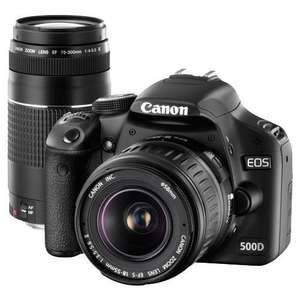 Canon EOS 500D + 18-55mm + 75-300mm Twin Lens Kit Christmas Sale at Jessops Online and Instore for £499.95
