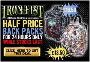Half price Iron Fist Backpacks from Attitude Clothing