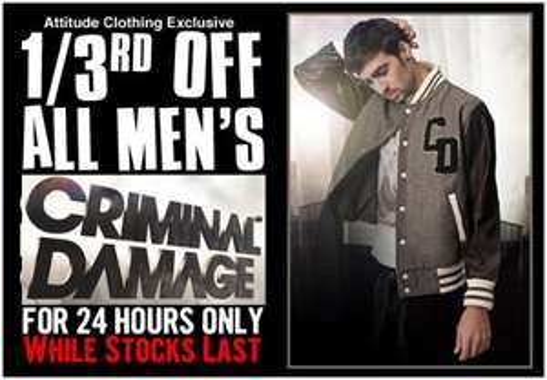 33% off all men's Criminal Damage clothing @ Attitude Clothing Co.