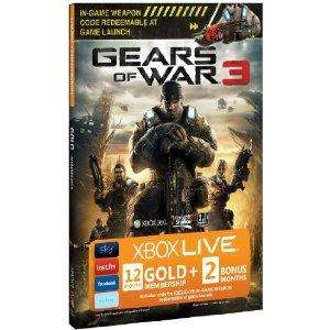 Xbox Live - Gears of War 3 branded Gold membership for 12 month with 2 bonus months (Total 14 months) - £29.97 @ Amazon