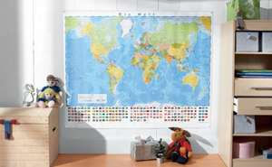 Large world/europe wall map - laminate & wipe clean @ Lidl £1.99