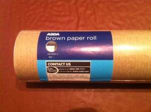 Misprice @ Asda instore - 8m x 0.45m brown paper roll marked at £1.20, scans at 2p!