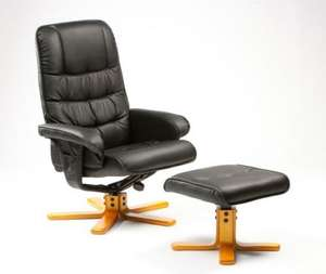Luxury Faux Leather Swivel Recliner and Footstool from £122 delivered @ FirstFurnature.co.uk