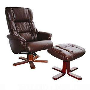 Black bonded leather 'Elliot' recliner chair & stool from Debenhams - was £499 now £179.10