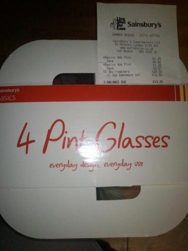 4 Pint Glasses - Sainsburys Basics - 37p