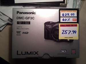 Panasonic GF3 with 14mm lens £258 instone at Bestbuy