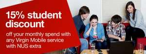 15% Student Discount off Monthly Contract/PAYG for Virgin Mobile customers