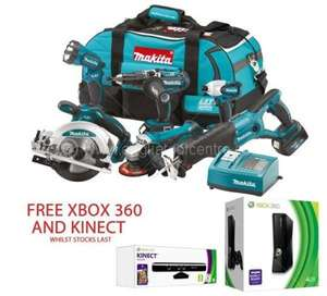 MAKITA LXT600 18V 6 PIECE KIT 3 X 3.0ah LI-ION BATTERIES FREE XBOX 360 (4GB) AND KINECT SENSOR WITH KINECT ADVENTURES GAME £719.97 Delivered @ Anglia Tool Centre
