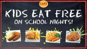 Kids eat free at morrisons cafe with any one adult hot meal from the teatime menu.