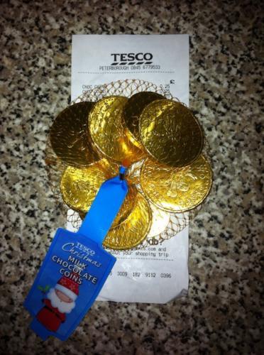 Tesco Milk Chocolate Coins - Now 25p a bag instore @ Tesco