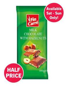 Fin Carre Milk Chocolate with Hazelnuts - 100g Bar only 22p @ Lidl