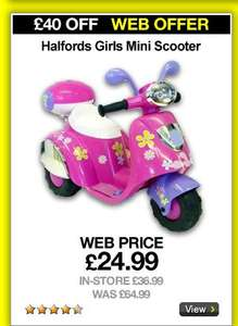 Halfords Girls Mini Electric Scooter, Less Than Half Price £24.99@Halfords