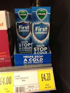 Vicks - First Defence Micro-Gel Nasal Spray. £4.27 @ Morrisons (rrp £7.99)