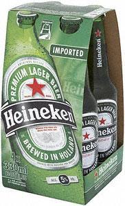 Heineken Lager - 4 x 330ml bottles for £2.32 at the Co-op