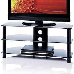 "Sainsburys - Red S-ESS1000/3-BLK Black Glass TV Stand for TVs up to 47"" - 39.99"
