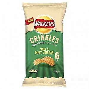 Walkers Crinkles Salt and Malt Vinegar Flavour Crisps 28g 6 Pack  £0.01 @  APPROVED FOOD