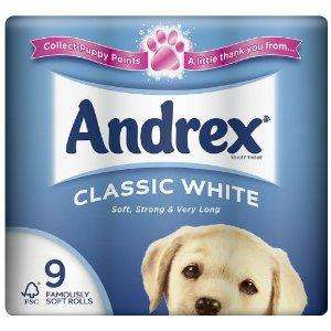 Andrex 9 Roll White Toilet Tissue 240 Sheets, 5 Packs, Total 45 Rolls (Pack of 45) £10 delivered @ Amazon