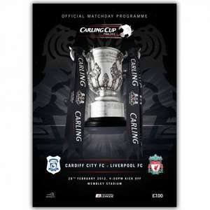 Carling Cup Final programme £5.60 (should be £7.00) price only till 9.00am Mon.6.Feb @ Liverpool FC.TV