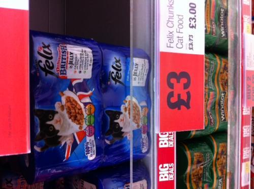 Felix cat food 6 tins for £3 at COOP