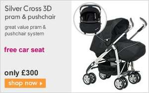 Silver Cross 3D Pram & Pushchair + FREE Silver Cross Ventura Plus Baby Car Seat (Worth £115) - £300 @ Mothercare