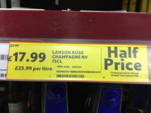 Pink Lanson Champagne half price - £17.99! instore & online in Tesco