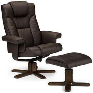 Malmo Recliner Chair & Foot Stool- Brown was £250 now £99.99 @ TJ Hughes