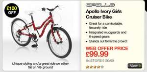 Apollo Ivory Girls Cruiser Bike Web Price £99 at halfords .Code NUSFEB12 brings it to 89.99Reserve and collectsave £110