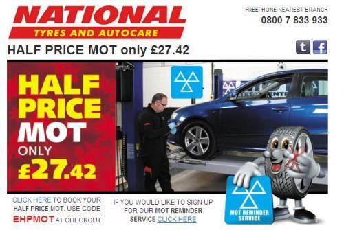 MOT for £27.42 @ National Tyres