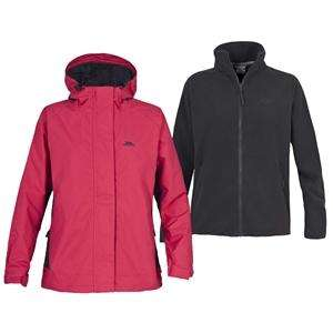 Trespass Women's Capes Mesh Lined Jacket With Free Inner Fleece (Pink) RRP £69.99 Now £17.99 !