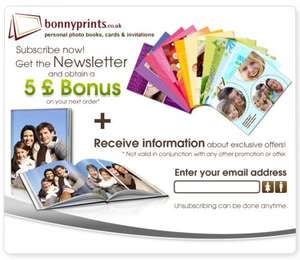 £5 to spend (+ get info on exclusive offers) when signing up to Newsletter @ Bonnyprints