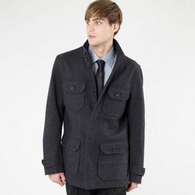 Stanley Adams Grey wool blend four pocket coat Was £110 - £33.00  Debenhams