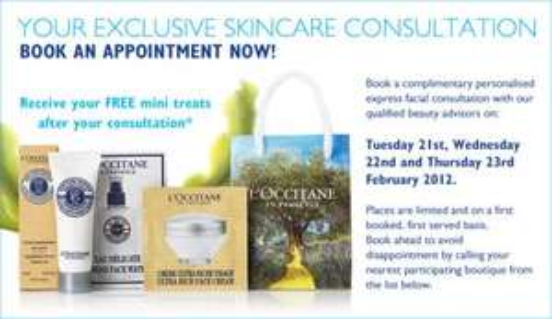 Free L'Occitane Mini Treats & Skincare Consultation (+ Free Beauty Samples with orders) @ L'Occitane