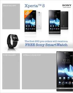 Sony Xperia S - with FREE smart watch :) @ Phones4U