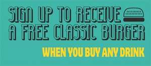 Free Classic Burger with any drink if you sign up to Scream Pubs CHAIN OF PUBS LOTS OF LOCATIONS