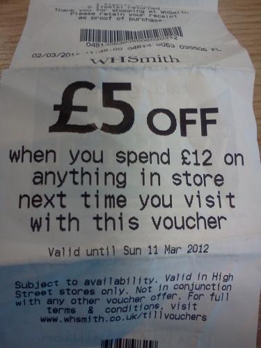 WHSMITH £5 off £12 spend