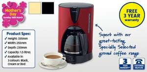 Filter Coffee Machine + 3 Year Warranty at Aldi from Sunday - £19.99