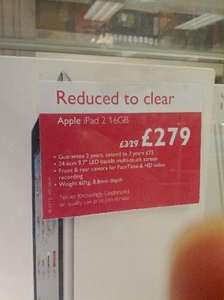Apple Ipad 2 16GB Clearance Deal Instore £279 @ John Lewis