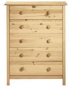Half Price Pine Scandinavia 5 Drawer Chest £44.99 @ Argos
