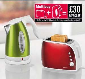 multi buy kettle & toaster Available in red or green £30 @ lidl from 22/03/2012