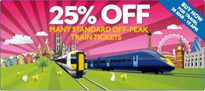 Get 25% off many standard off-peak mainline and high speed tickets when you buy online @ Southeastern Railway