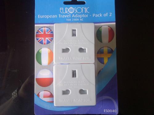 World Travel adaptor and European Travel adaptor packs of 2 £1 @ Poundland