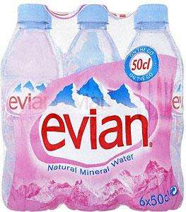 Evian Natural Still Mineral Water (6x500ml) £1.00 @Tesco