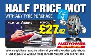 Half Price MOT with any tyre purchase @ Tyre-Shopper