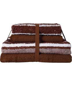 Stripe 4 Piece Towel Bale- Chocolate - £5.99 @ Argos
