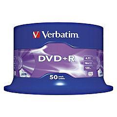 Verbatim Blank DVD+R or -R  Disks 50-pack Sainsbury`s £7.99