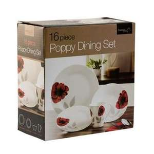 16 Piece Poppy Dining Set Instore at B&M reduced to £6.99.